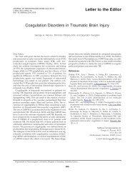 Coagulation Disorders in Traumatic Brain Injury - Department of ...