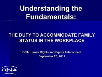 Understanding the Fundamentals: - Ontario Nurses' Association