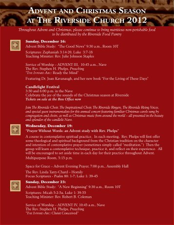to download a pdf of the Advent Brochure. - The Riverside Church