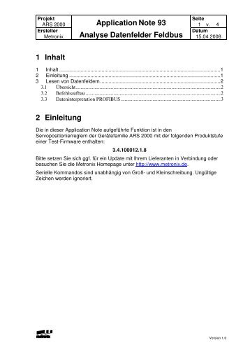 Application Note Nr. 93 Analyse Datenfelder Feldbus - Metronix