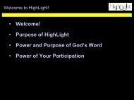 Purpose of HighLight - Watermark Community Church