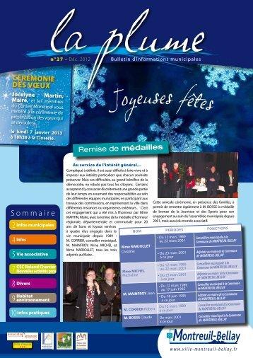 Téléchargez la plume décembre 2012 - Montreuil-Bellay