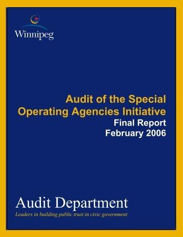 Audit Department - City of Winnipeg