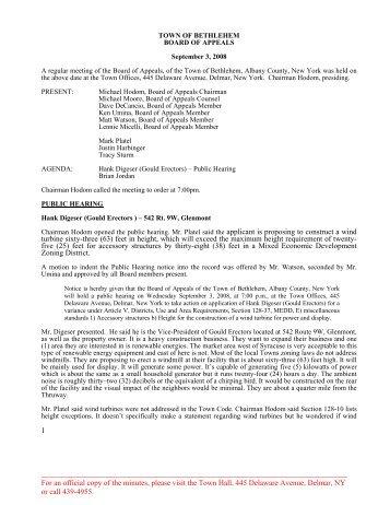 Microsoft Word - 090308.doc - Town of Bethlehem