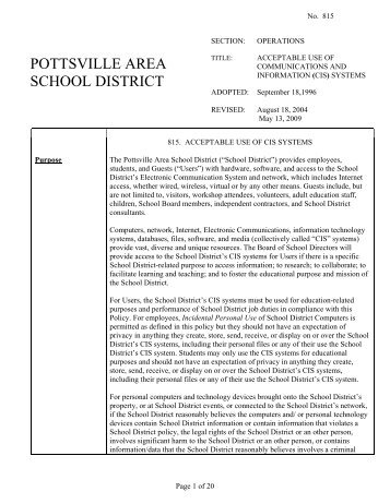 Technology Acceptable Use Policy (pdf) - Pottsville Area School ...