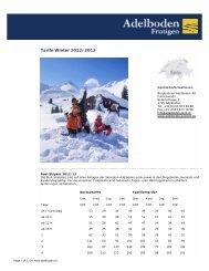 Tarife Winter 2012/2013 - Alpensicht.com