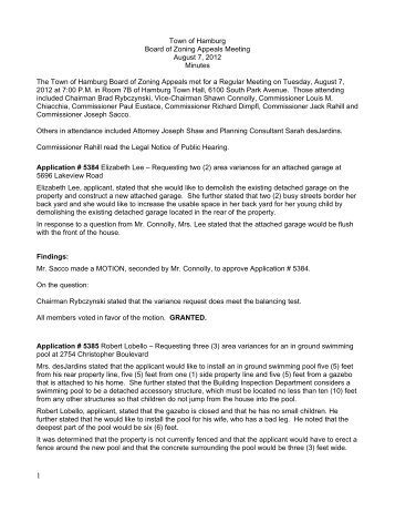 Town of Hamburg Board of Zoning Appeals Meeting August 7, 2012 ...