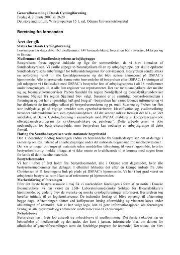 Formandens beretning 2007 - Dansk Cytologiforening