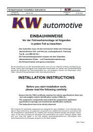 einbauhinweise installation instructions - Ernst Equipment