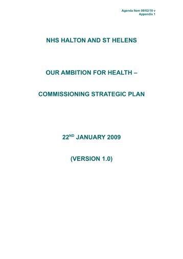version 1.0 - Halton and St Helens PCT