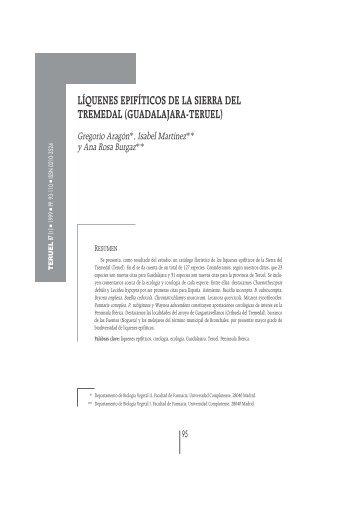 líquenes epifíticos de la sierra del tremedal - Revista Teruel ...