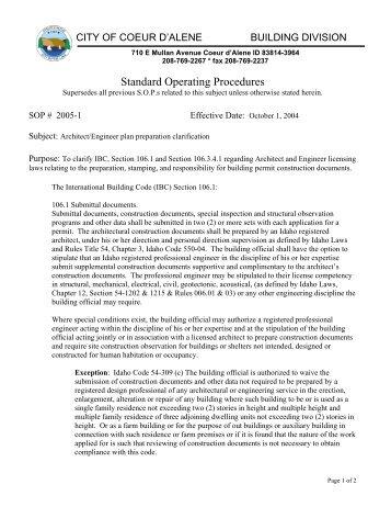 Standard Operating Procedures - CDA Building Department - City of ...