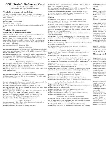 GNU Texinfo Reference Card