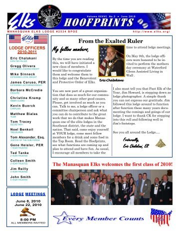 June 2010 Hoofprints - Manasquan Elks Lodge # 2534
