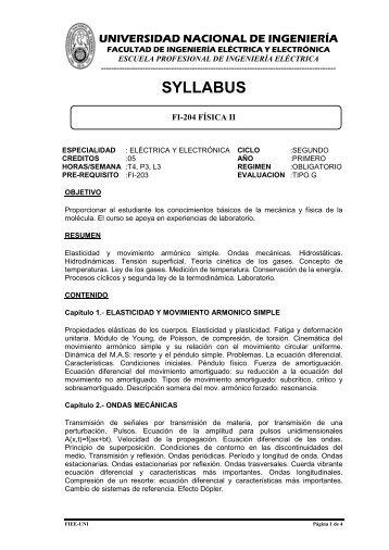 universidad nacional de ingenieria - Facultad de Ingeniería Eléctrica ...