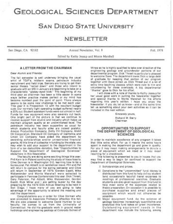 NEWSLETTER - Department of Geological Sciences - SDSU