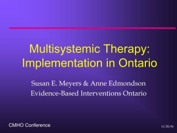 Multisystemic Therapy - Children's Mental Health Ontario