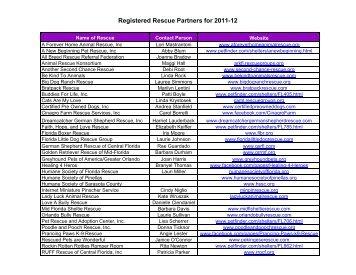 Registered Rescue Partners for 2011-12 - Orange County Gov FL