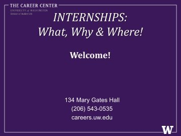 INTERNSHIPS: What, Why & Where! - The Career Center of the ...