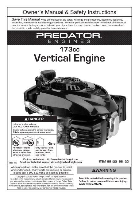 173cc Vertical Engine - Harbor Freight Tools