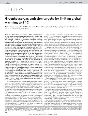 Greenhouse-gas emission targets for limiting global warming to 2 °C