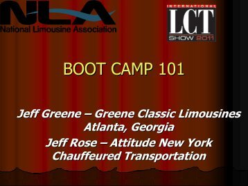 BOOT CAMP 101 - National Limousine Association