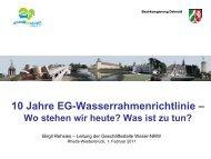 Vortrag Frau Rehsies: 10 Jahre Wasserrahmenrichtlinie - Weser NRW