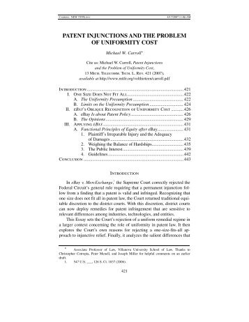 patent injunctions and the problem of uniformity cost - Michigan ...