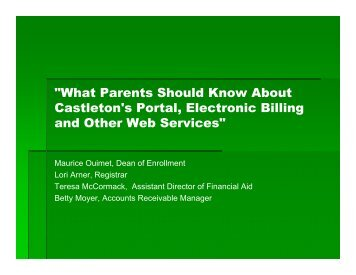 Web Services Presentation for Parents - Castleton State College