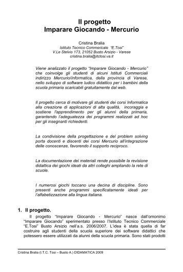 Il progetto Imparare Giocando - Università degli Studi di Trento