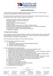 Critical Incident Policy and plan v1.3x - Australian Pacific College
