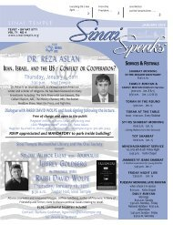Sinai Speaks Newsletter - Sinai Temple