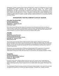 SHAKESPEARE THEATRE COMPANY'S 2010-2011 SEASON All's ...