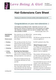 Hair Extensions Care Sheet - Love Being a Girl