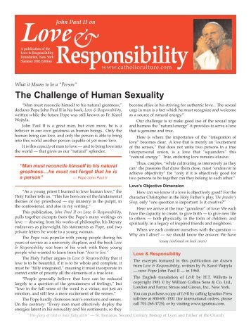 Pope John Paul II on Love & Responsibility