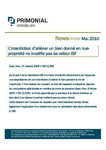News PrimonialImmo - Mai 2010 - Primonial Immobilier