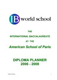 American School of Paris DIPLOMA PLANNER 2006 - 2008