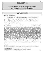 Lehrveranstaltungen WS 2011/2012 - Kommentare - Philosophie