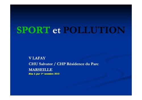 SPORT POLLUTION SPORT et POLLUTION - Club des ...