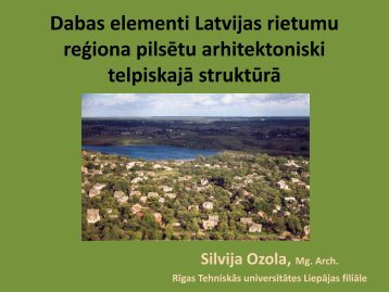Dabas elementi Latvijas rietumu reģiona pilsētu arhitektoniski ...