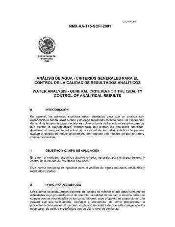 NMX-AA-115-SCFI-2001 ANÁLISIS DE AGUA ... - CONAGUA