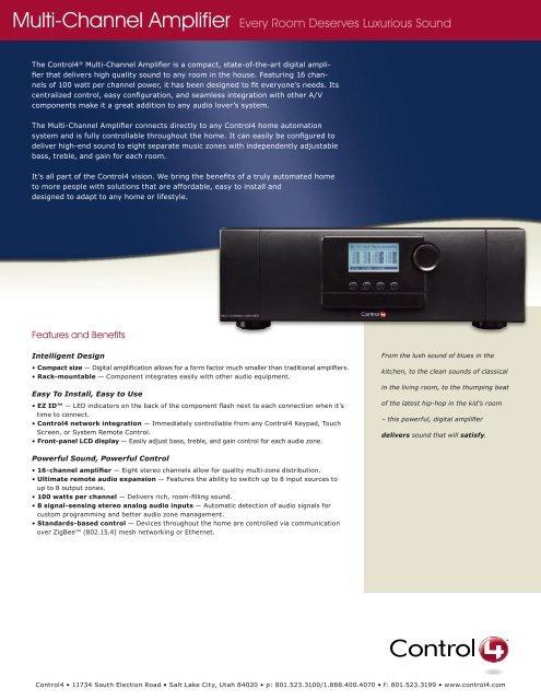 Control4 Multi Channel Amplifier v3 - Bobo Technologies