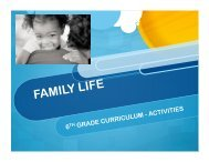 Family Life Lesson Activities