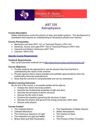AST 335 Astrophysics - Physics & Astronomy