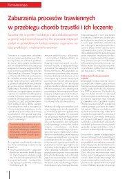 Zaburzenia procesów trawiennych w przebiegu chorób trzustki i ich ...