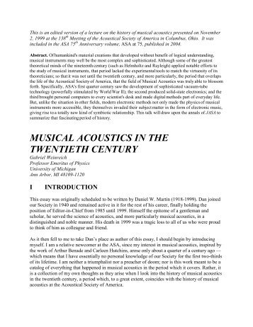 Musical Acoustics in the Twentieth Century by ... - Public.coe.edu