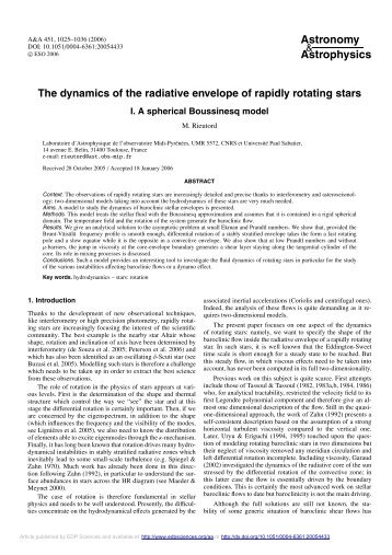 The dynamics of the radiative envelope of rapidly rotating stars-I. A ...
