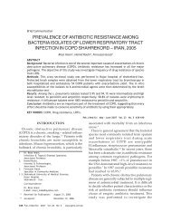 PREVALENCE OF ANTIBIOTIC RESISTANCE AMONG BACTERIA ...