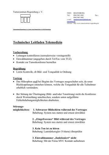 Technischer Leitfaden Telemedizin - Tumorzentrum Regensburg eV