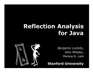 Reflection Analysis for Java - Microsoft Research